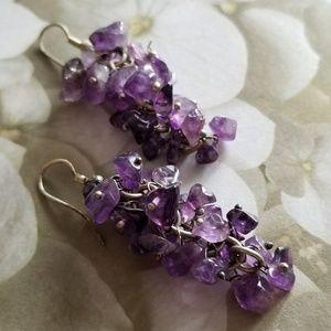 Amethyst bead cluster earrings purple grape silver